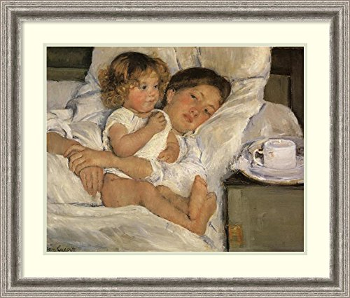 (Framed Wall Art Print Breakfast in Bed 1897 by Mary Cassatt 29.75 x 25.38)