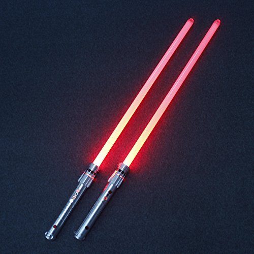 YDD Jedi Sith Darth Maul Metal hilt Double Blade Lightsaber with Sound (Motion Sensitive) for Galaxy War Fighters]()
