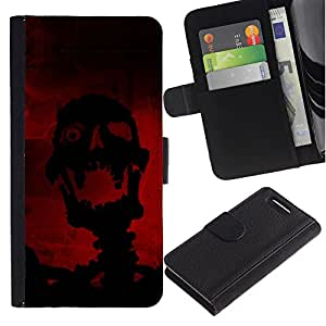 A-type (Riendo Evil Skull Skeleton) Colorida Impresión Funda Cuero Monedero Caja Bolsa Cubierta Caja Piel Card Slots Para Sony Xperia Z1 Compact / Z1 Mini (Not Z1) D5503