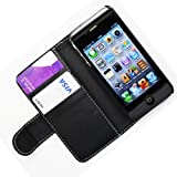 WalkNTalkOnline - Apple iPhone 4 4G & iPhone 4S Black Executive Specially Designed Leather Book Wallet Case With Credit Card/Business Card Holder