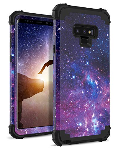 DOMAVER Galaxy Note 9 Case, Samsung Note 9 Case Galaxy Nebula Slim Fit Dual Layer Hybrid Shockproof Hard Back Durable Bumper Protective Phone Case Cover for Samsung Galaxy Note 9, Purple