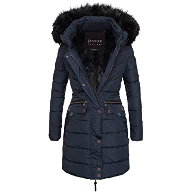 4c32ee8fbf7 Spindle Women s Designer Warm Winter Parka Quilted Hooded Long Coat Jacket-  Fleece Lined Body Zip Pockets  Amazon.co.uk  Clothing