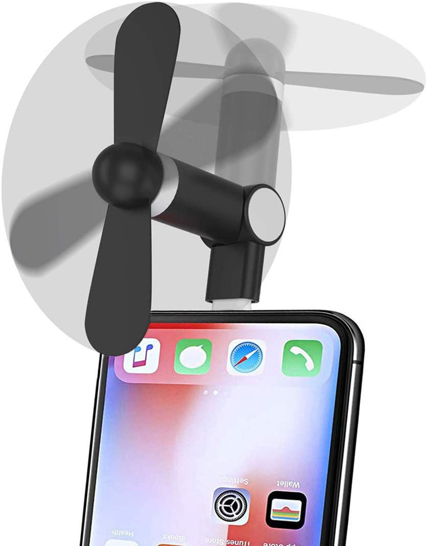 Genuie Fan for iPhone 2 Packs Black and Rose Red Mini Fan with 180 Rotating iPod and Any Lighting Devices Lightweight Compatible for iPhone Strong Wind iPad Upgraded Version