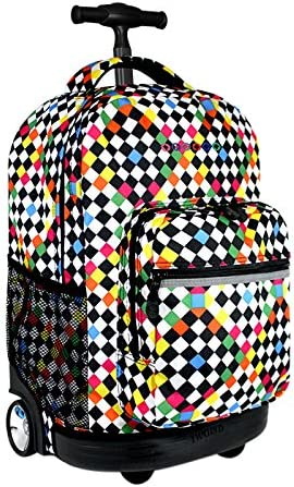 J World New York Sunrise 18-inch Rolling Backpack – Checkers