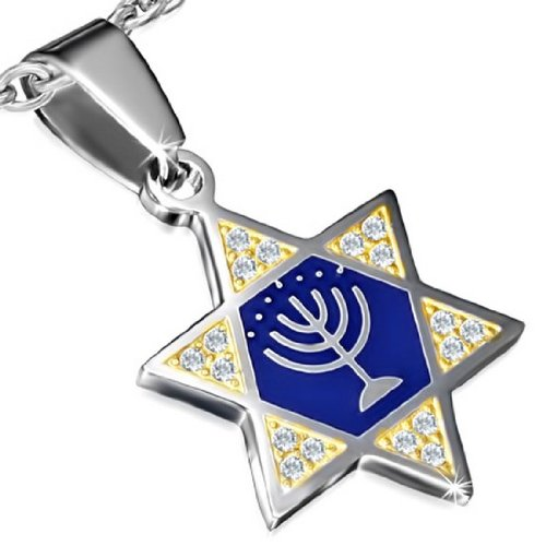 Stainless Steel Two-Tone Jewish Star of David Blue Menorah Pendant Necklace, 22