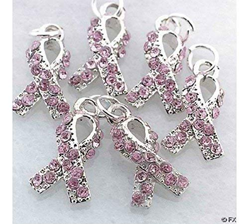 ((20) Rhinestone PINK RIBBON Breast Cancer CHARMS ~ Jewelry Craft MOST WATCHED)