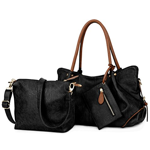 Womens 3 Piece Tote Bag Leather Handbag Purse Bags Set (Black) - 8