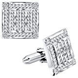 Men's Sterling Silver .925 Square Cufflinks with Channel-Set Baguette and Princess-Cut Cubic Zirconia Stones, Platinum Plated. 18.5 mm. By Sterling Manufacturers