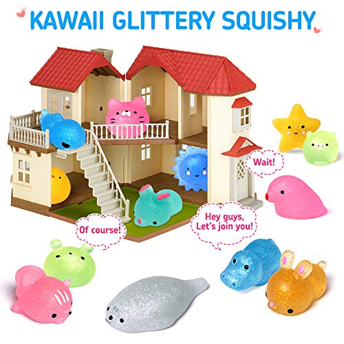FLY2SKY 25PCS Mochi Squishy Toys 2nd Generation Glitter Mini Squishy Animal Squishies Easter Egg fillers Party Favors for Kids Stress Relief Toys Kawaii Cat Unicorn Squishys Easter Gifts, Random by FLY2SKY (Image #1)