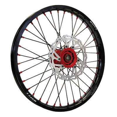 Warp 9 Complete Wheel Kit - Rear 18 x 2.15 Black Rim & Spokes/Red Hub & Nipples for Honda CRF450X 2005-2009