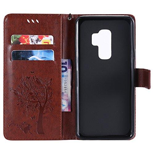 Funda Samsung S9 Plus, SsHhUu Funda PU Piel Genuino [Ranuras para Tarjetas] [Cierre Magnetico] con Lápiz óptico + Acollador para Samsung Galaxy S9 Plus / S9+ (6.2) Azul Café