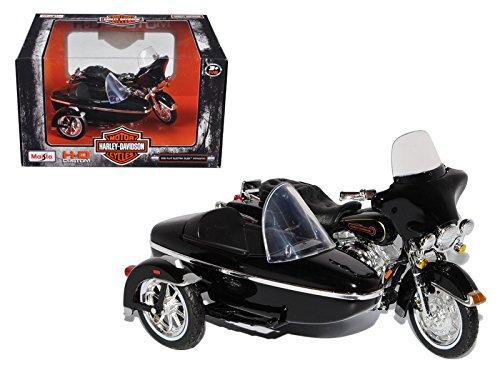 Maisto 76400 1998 Harley Davidson FLHT Electra Glide Standard with Side Car Black Motorcycle Model 1-18 Diecast Model