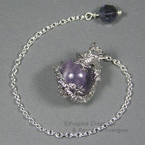 Sphere Crystal Swarovski Faceted (Amethyst Dragon Amethyst Dragon Sphere Crystal Pendulum w/ Swarovski Crystal Finger Grip, SSP2)