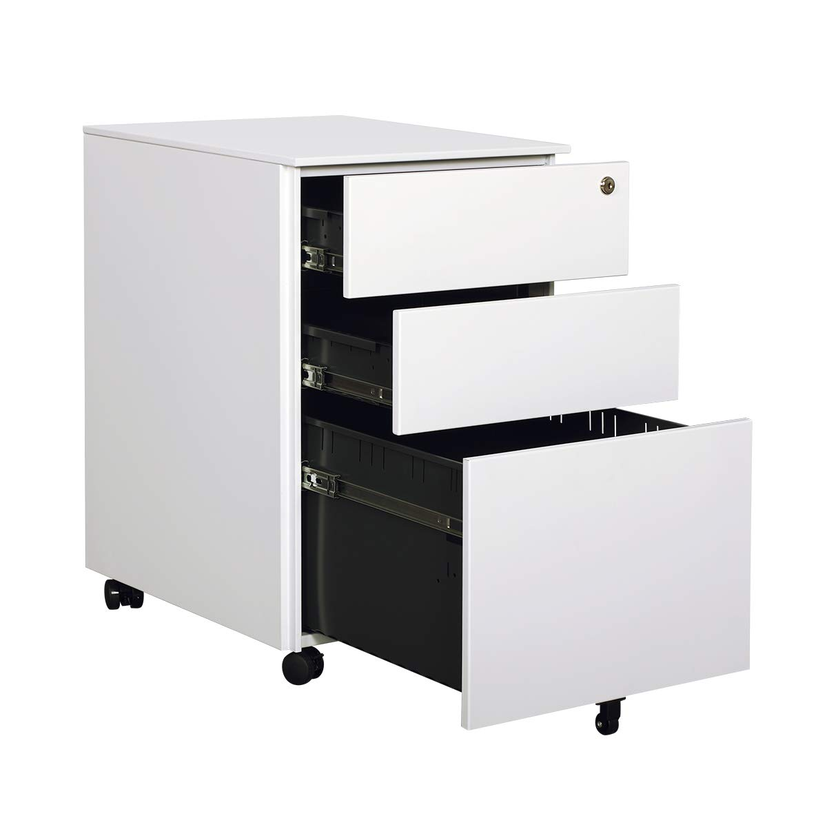 DEVAISE Mobile Vertical File Cabinet 3 Drawer with Lock for Office/Black 002
