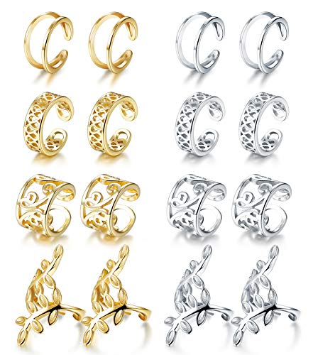 JOERICA 4 Pairs Silver Ear Cuff Earrings for Women Girls Clip on Fake Lip Cartilage Tragus Helix Body Jewelry Set (B:8 pairs) ()