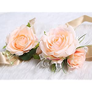 Wedding Prom Wrist Corsage Single Silk rose and Boutonniere Set Pin Ribbon Included (Classic Oldrose theme) 2