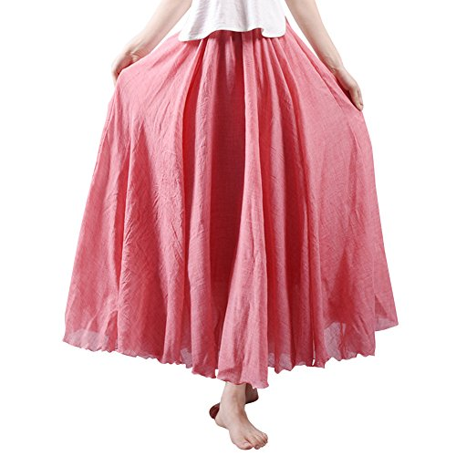en Taille de Mariage Femme Plage Dress Jupe Elastique Coton Clair Rouge Casual Boheme Tour amp;Lin xtCCf0wqI