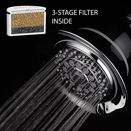 HotelSpa Extra-Large 5 Inch 6 Setting Filtered Shower Head with NEW and IMPROVED 3 Stage Shower Filter Cartridge Inside