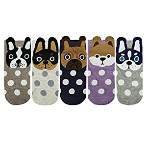 Zmart 5 Pack Women Funny Novelty Polka Dots Dog Cotton Low Cut Ankle Socks
