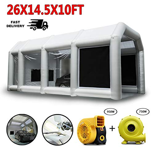 Spray Booth, LuckyWe Car Paint Inflatable Paint Booths 26x14.5x10FT with Two Blowers Filter Environmental Solutions Portable Large for Hobby Airbrush Painting Tent