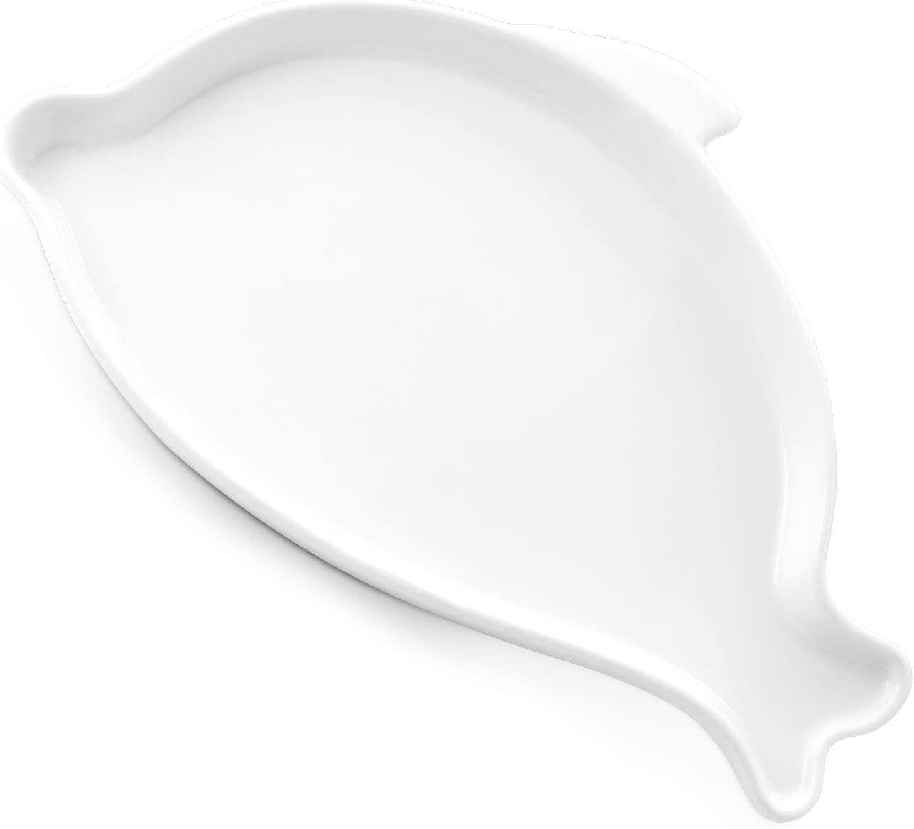 """DOWAN Large Spoon Rest for Kitchen - 7.8"""" Large Dolphin Shape Spoon Holder for Stove Top, Porcelain Ceramic Cooking Spoon Rest, Cute Kitchen Decor and Accessories, White"""