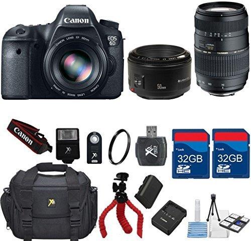 Canon EOS 6D 20.2 MP CMOS Digital SLR Camera + Canon EF 50mm f/1.8 II Lens +Tamron 70-300 Zoom + 64GB In Memory + 6pc Starter Kit - International Version