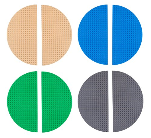 Strictly Briks Half Circle Baseplates for Building Bricks   Compatible with Major Brands   8 Circular Baseplates   10 Diameter (Blue, Green, Gray and Sand)