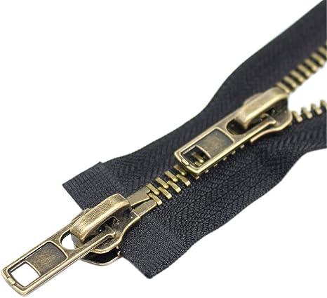 24 Brass YaHoGa 2PCS #5 24 Inch Brass Separating Jacket Zipper Metal Zippers for Jackets Coats Sewing Crafts Bulk