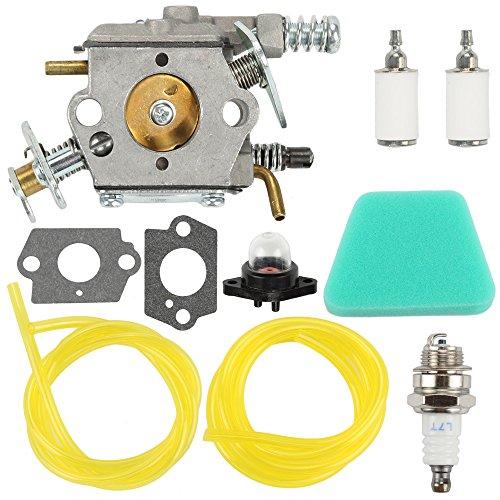 Anzac Carburetor with gaskets Primer Bulb Spark Plug Air Filter Fuel Filter Fuel Line Hose Tube for Poulan Chainsaw 1950 2050 2150 2375 WT 89 891 Zama C1U-W8 C1U-W14 Replace 545081885 (Poulan Chainsaw 2150)