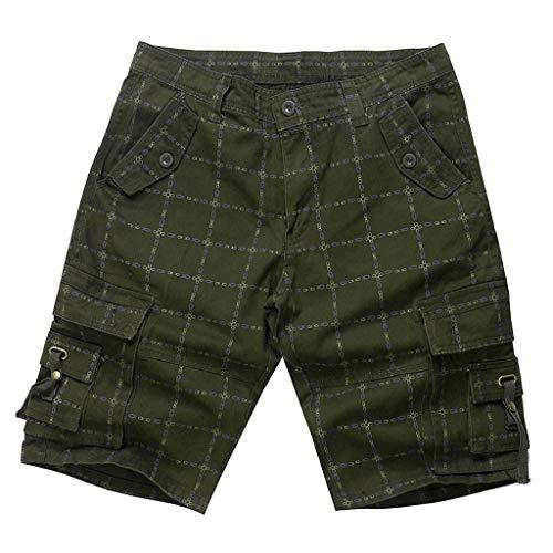 DIOMOR Fashion Plaid Multi Pockets Cargo Shorts for Men 9
