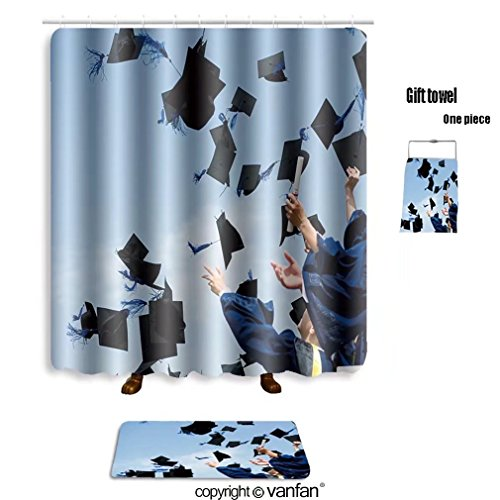 vanfan bath sets Polyester rugs shower curtain high school graduation hats high 83821315 shower curtains sets bathroom 69 x 84 inches&31.5 x 19.7 inches(Free 1 towel 12 hooks) by vanfan