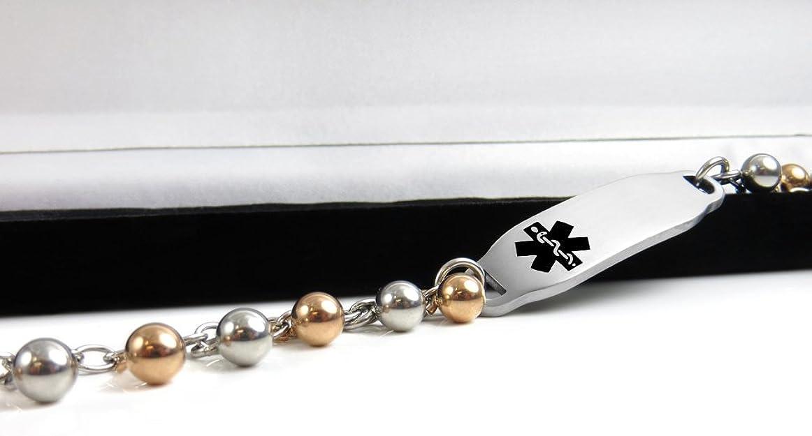 Black//White Millefiori Glass Pattern My Identity Doctor White Pre-Engraved /& Customized Schizophrenia ID Bracelet