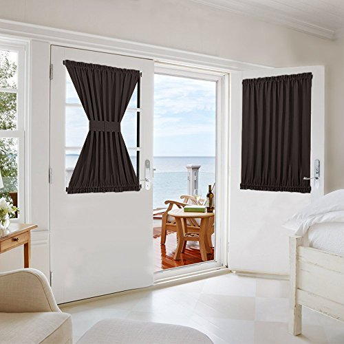 (NICETOWN Blackout Door Curtain for Privacy - Functional Thermal Insulated Window Curtain Panel Door Blind for French Door/Patio (54W by 40L Inches, Toffee Brown, Single Panel))