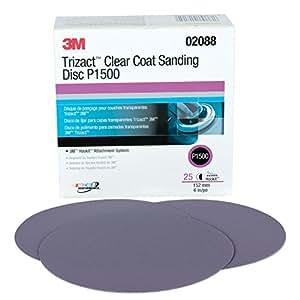 "3M 02088 Trizact Hookit 6"" P1500 Grit Clear Coat Sanding Disc"