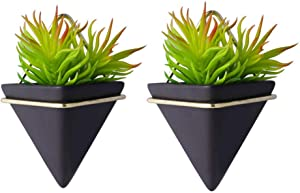Wall-Mounted Triangle Planters, Small Hanging Plant Vases, Hydroponic Flowerpots, Geometric Metal Ceramic Plant Containers, Home Decor Vases for Small Flowers Succulent Plants (2Black Triangles, S)