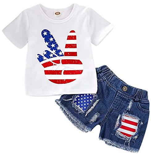 - Infant Baby Boys Girl USA Flag T-Shirt Tops + Hole Denim Shorts Set 4th of July Clothes Set Size 6-12 Months/Tag80 (White)
