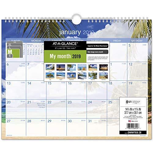 AT-A-GLANCE 2019 Monthly Wall Calendar, 15 x 12, Medium, Wirebound, Tropical Escape (DMWTE828)