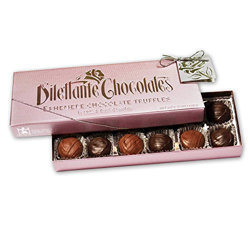 (Chocolate Truffles Gift Box - Milk & Dark Chocolate Truffle Assortment 12 Piece Ephemere - By Dilettante)