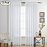PONY DANCE Sheers Curtains Voile - 95'' long Linen Look Semi-Sheer Drapes Privacy Home Decorative Rod Pocket Sheer Drapes Light Filter for Patio, 55 Wide by 95 Inches Long, White, 1 Pair