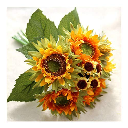 Artificial Silk Flower Fake Sunflower 1 Bouquet Floral DIY Bridal Bouquets Real Looking Silk Flower with Plastic Stem for Home Wedding Party Decoration (Yellow)