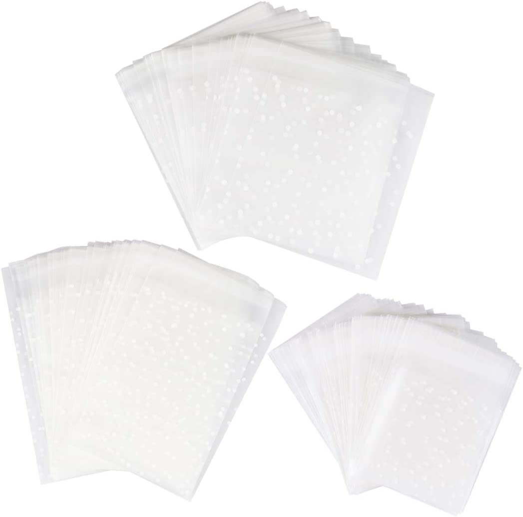 Self Sealing Bag 300 PCS for Cookies Dot Plastic Bags Flat Treat Bag for Homemade Candies and Desserts Use (300, Mixed)