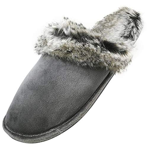 Faux Grey Fur Indoor Fluffy Slippers Santimon Anti Outdoor Skid Mules Women Shoes House for Winter Men BwRxqZI