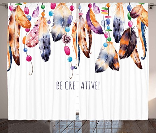 Ambesonne Pearls Decor Collection, Be Creative Quote Watercolor Print Feathers and Beading Boho Style Home Decor, Living Room Bedroom Curtain 2 Panels Set, 108 X 84 Inches, White Brown (Curtain Beading)