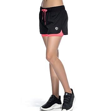 CtopoGo Pantalones Cortos de Deporte 2 en 1 para Mujer Pantalones Cortos Deportivo de Yoga para Hacer Ejercicio Pantalones Cortos para Deporte al Aire ...