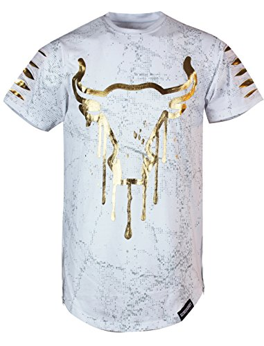 Bull Outfit (SCREENSHOTBRAND Mens Hipster Hip-Hop Premiun Tees - Stylish Longline Latest Fashion T-Shirts - Bull Print - White - Xlarge)