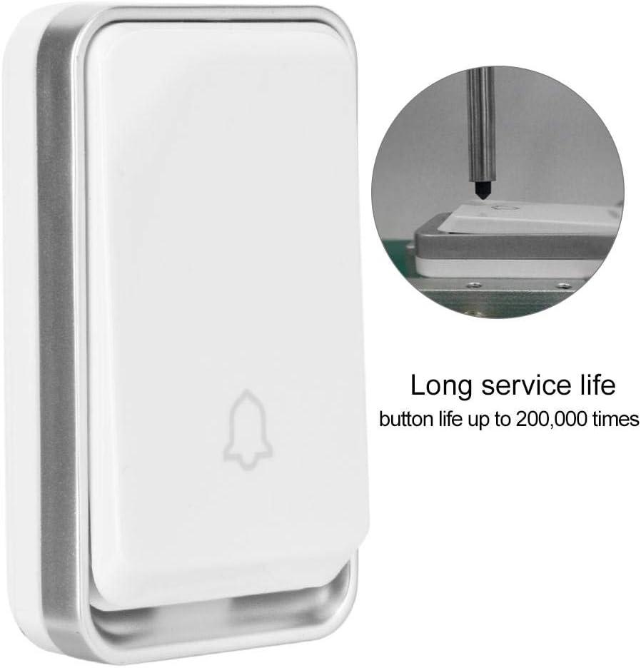4-Level Volume Adjustable Doorbells Wireless Cordless for Home White Wireless Doorbell LED Smart Wireless Waterproof Entry Alarm Doorbell with 51 Chimes Office.