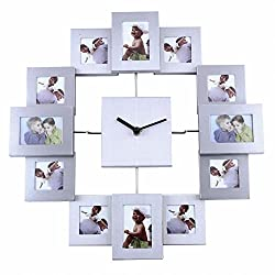 Soledi 12 Picture Aluminum Photo Frame Wall Clock Wall Clock