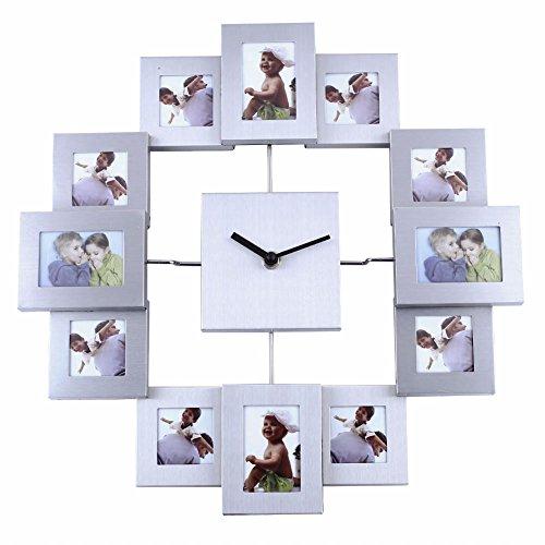 Soledi 12 Picture Aluminum Photo Frame Wall Clock Wall Clock (Family Time Photo Clock)