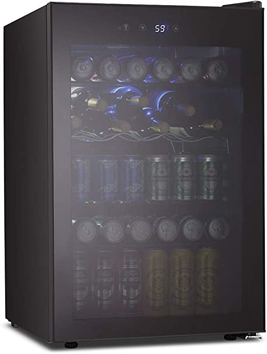 145 Can Mini Fridge Glass Door with Digital Temperature Display for Soda,Beer or Wine