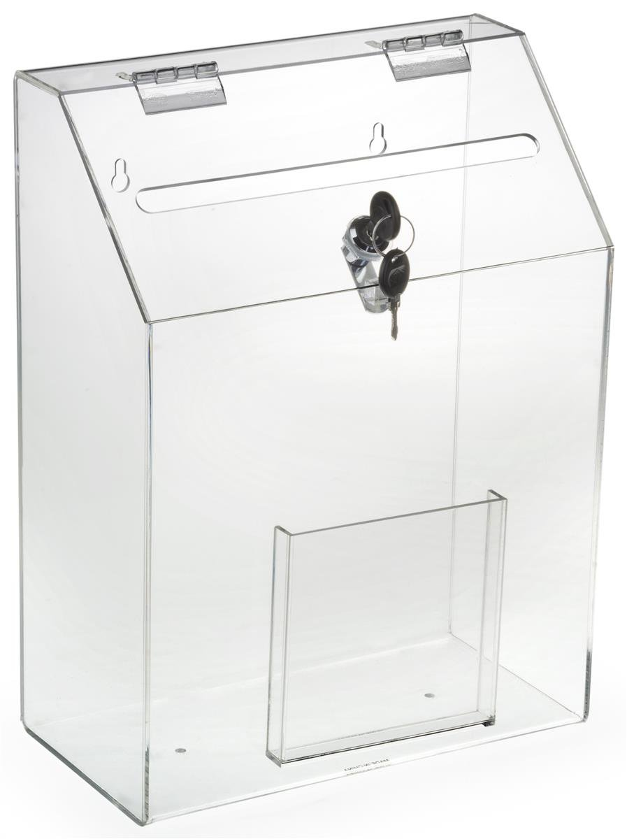 Locking Ballot Box with Front Pocket, Wall Mounting, 2 Keys (Clear Acrylic) by Displays2go